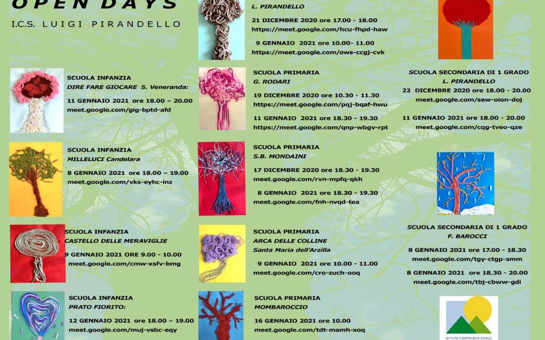 Calendario Open Day su Meet delle scuole dell'Istituto